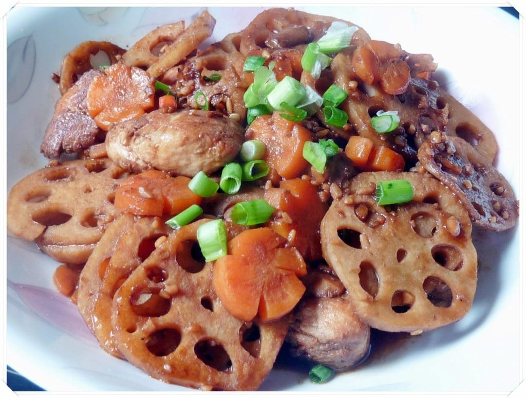 Chinese Stir Fry Lotus Root Amp Chicken In Spicy Bean Sauce