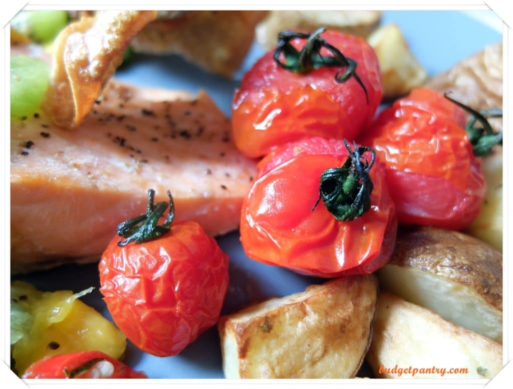 March 14- Mango Salsa Salmon with Crispy Skin cherry tomato