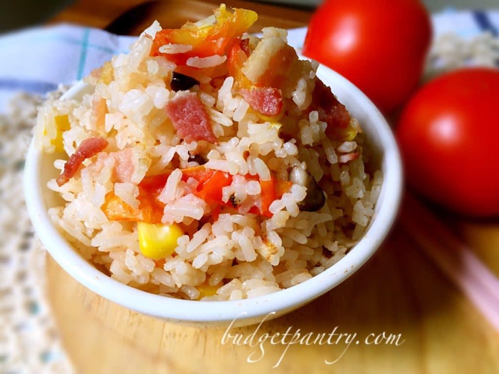Nov 30- Rice cooker tomato rice bacon