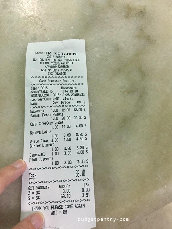 Kocik Kitchen receipt
